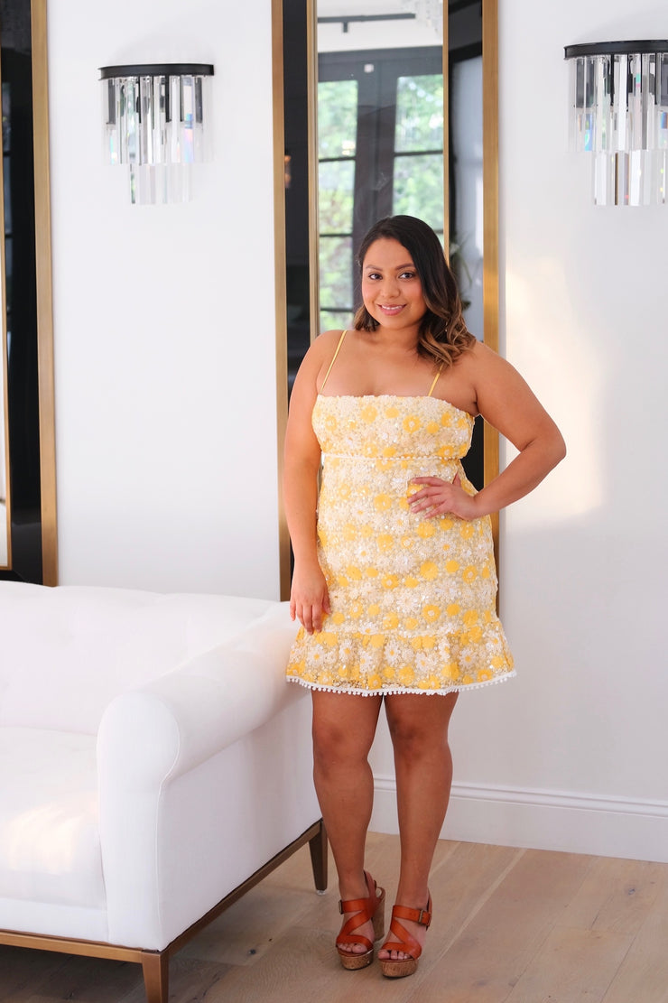 Yellow Floral Sequin Dress