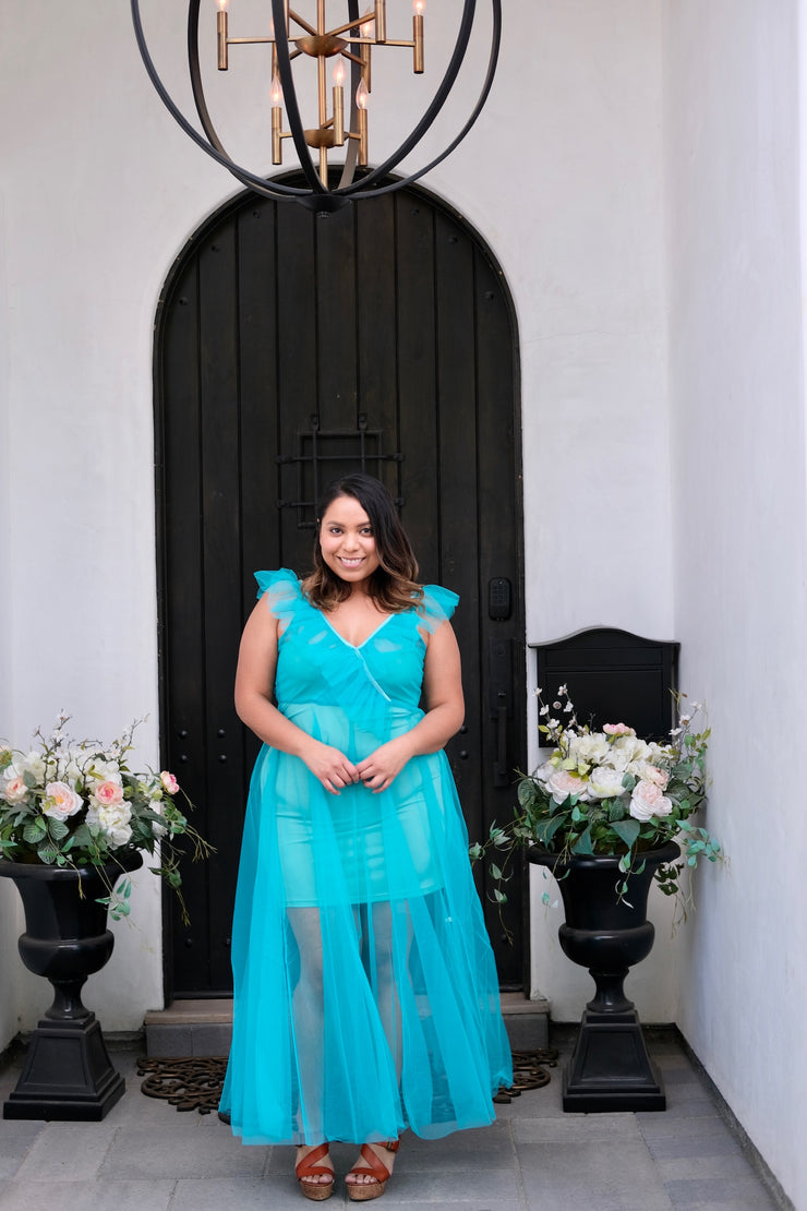 Teal Ruffled Tulle Dress