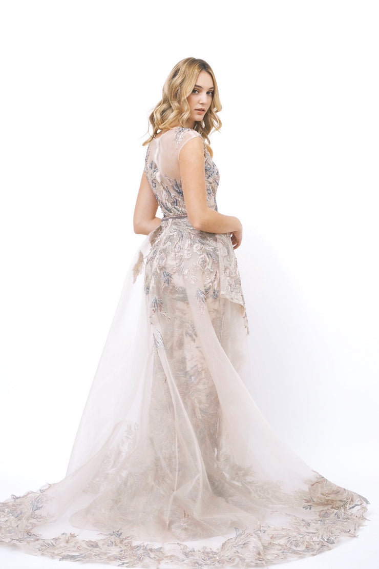 Beaded Gown with Removable Tulle Skirt