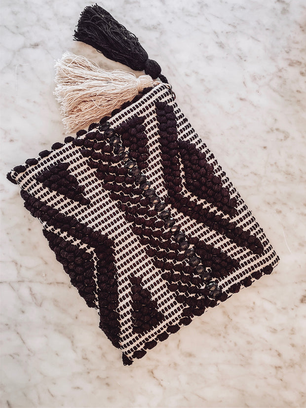 Woven Clutch with Tassels