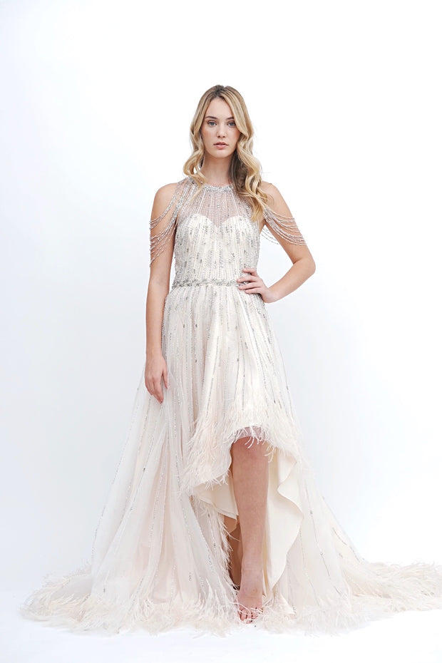 Beaded & Feather Hi Low Gown