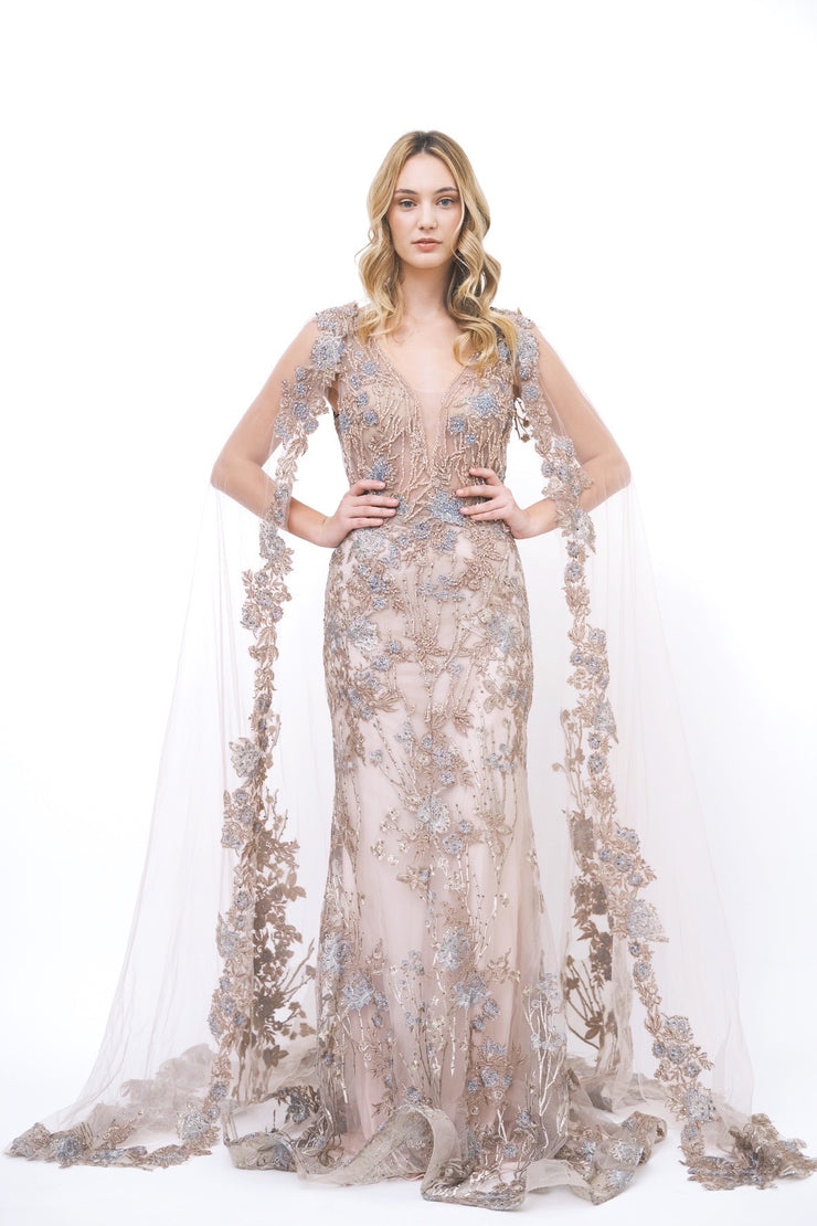 Beaded Floral Gown with Cape