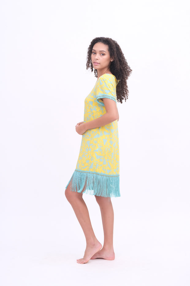 Yellow & Aqua Fringe Dress