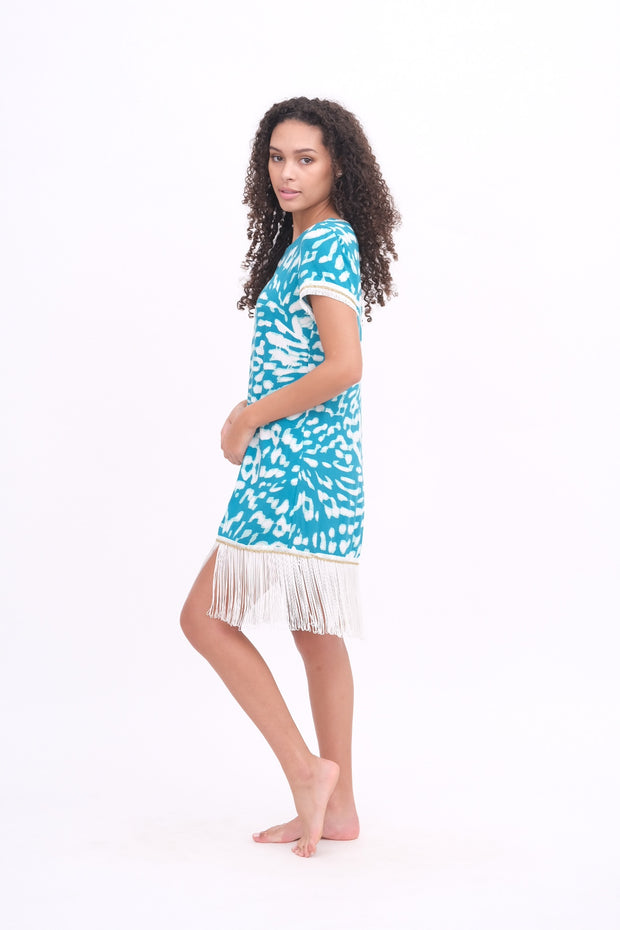 Teal & White Fringe Dress