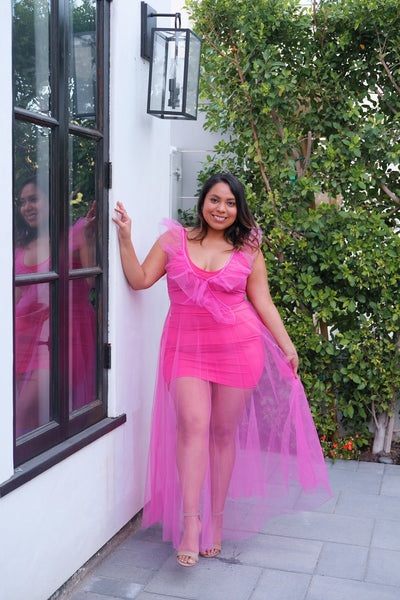 Ruffled Tulle Dress Hot Pink