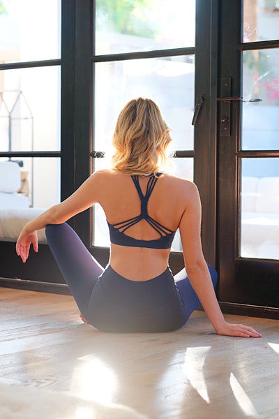 Blue Strappy Sports Bra
