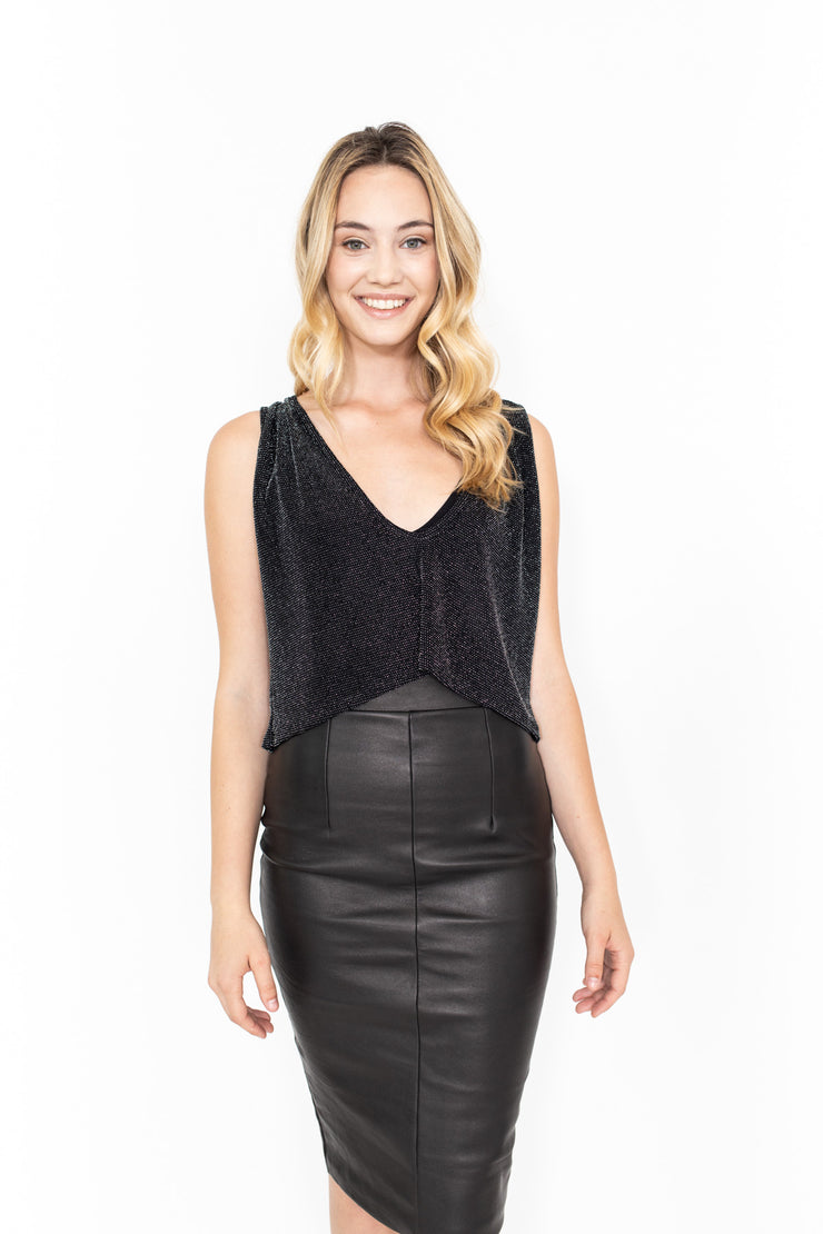Black Sparkle Sleeveless Crop Top