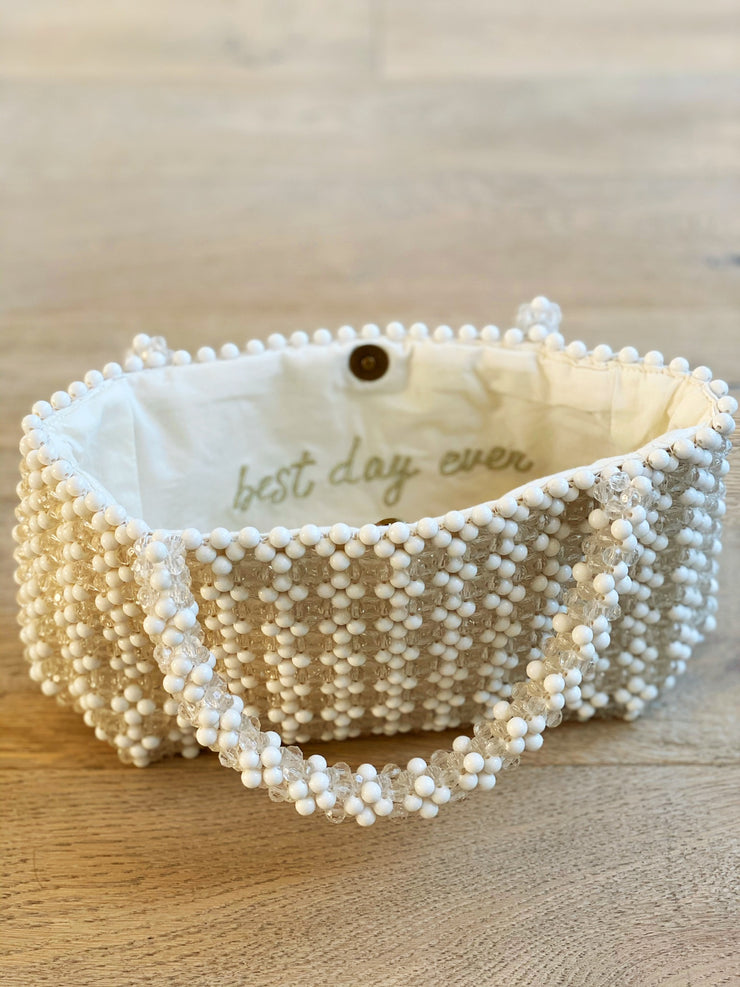Beaded White Purse
