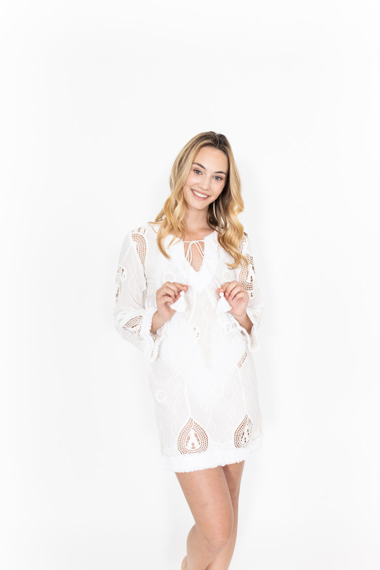 Taj Long Sleeve White Dress