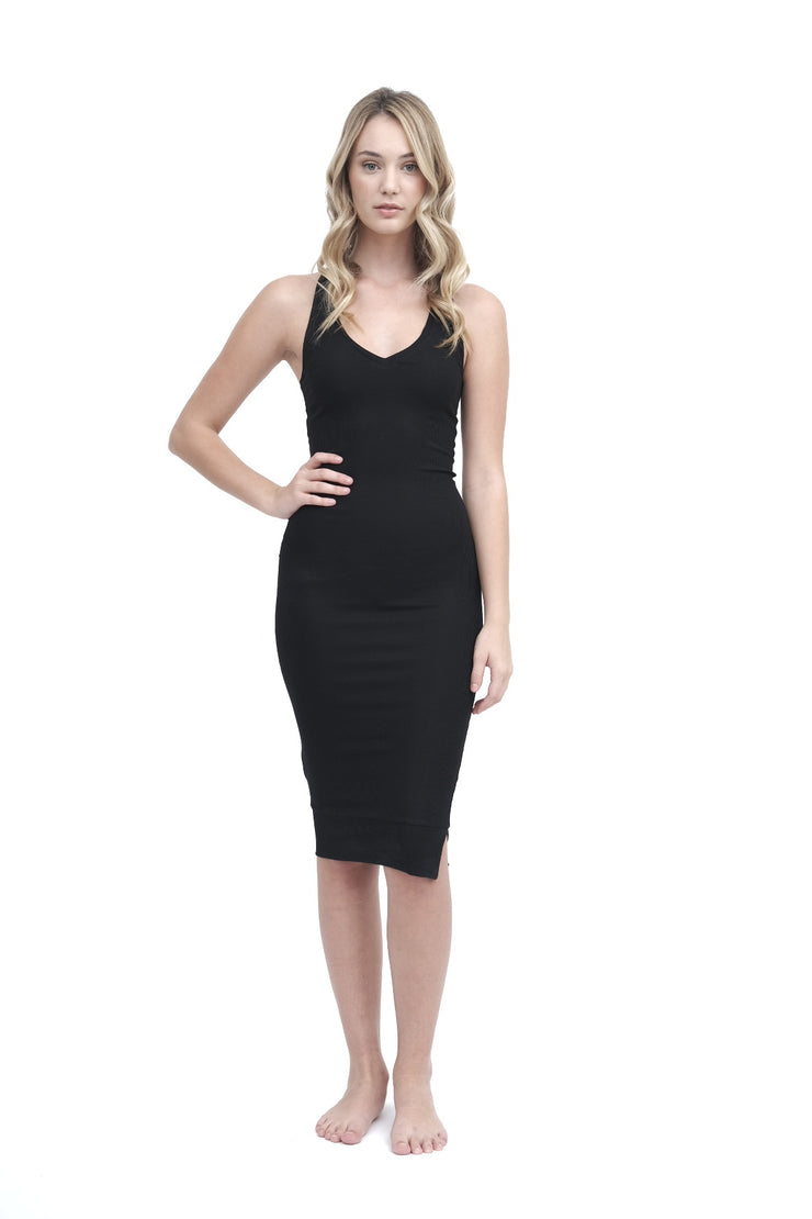 Black Ribbed Racerback Dress