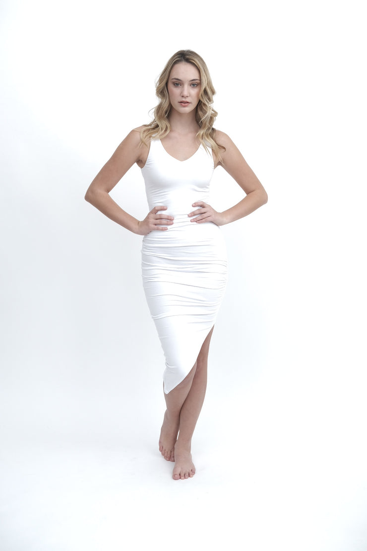 White Asymmetrical Ruched Dress
