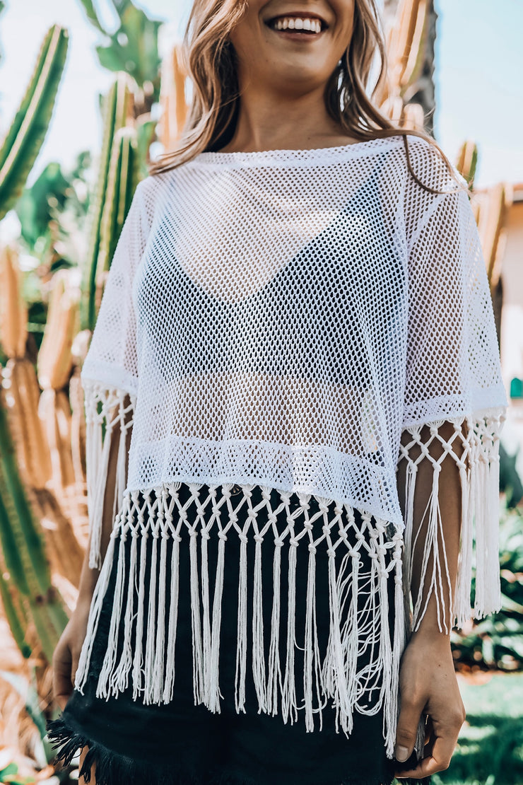 White Mesh Crop Top with Fringe