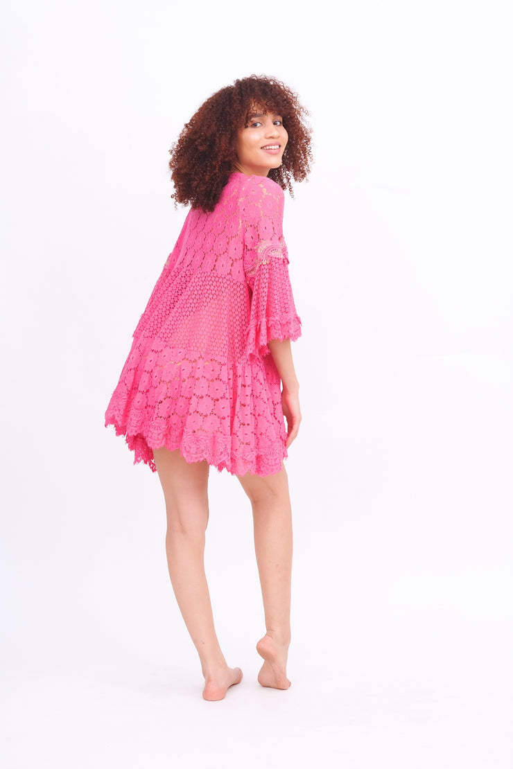 Pink Lace Coverup Dress