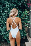 One Piece Swimsuit Gold Trim in White