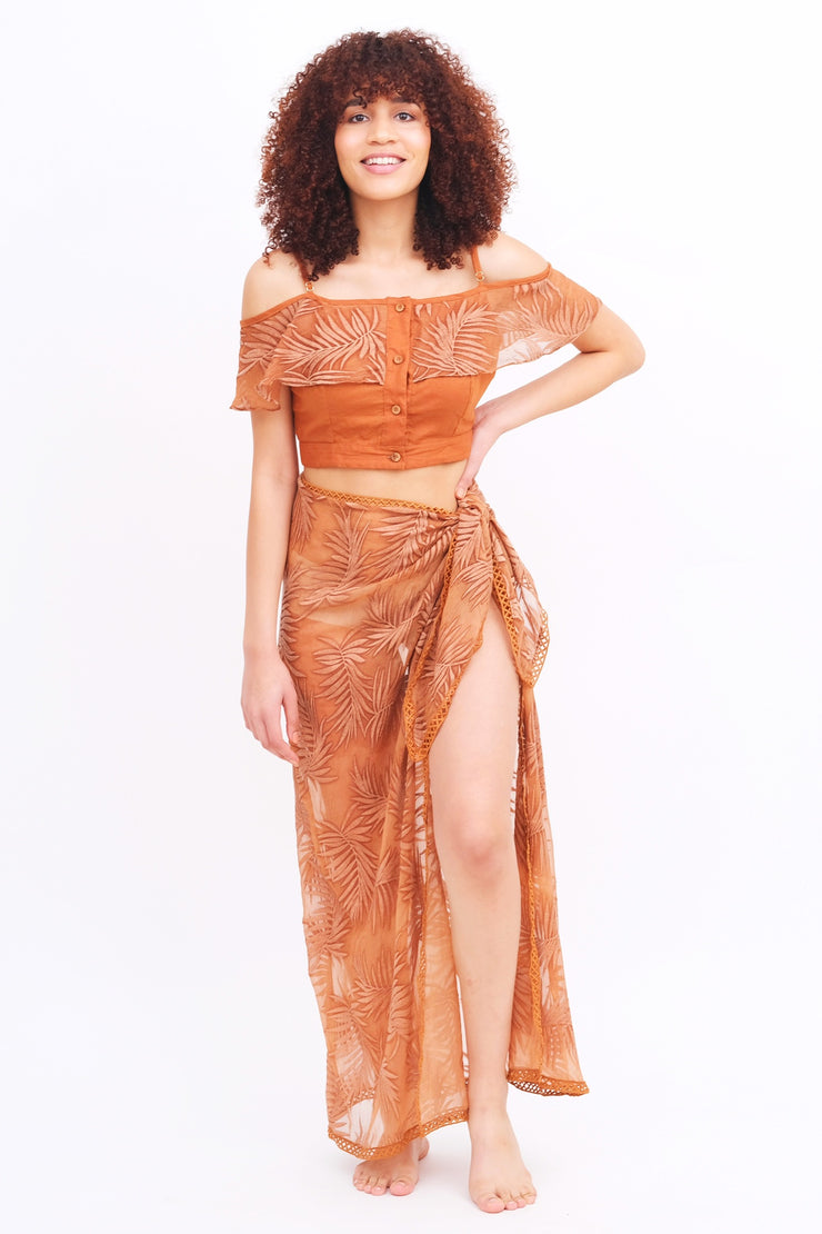 Copper Palm Leaf Ruffle Top