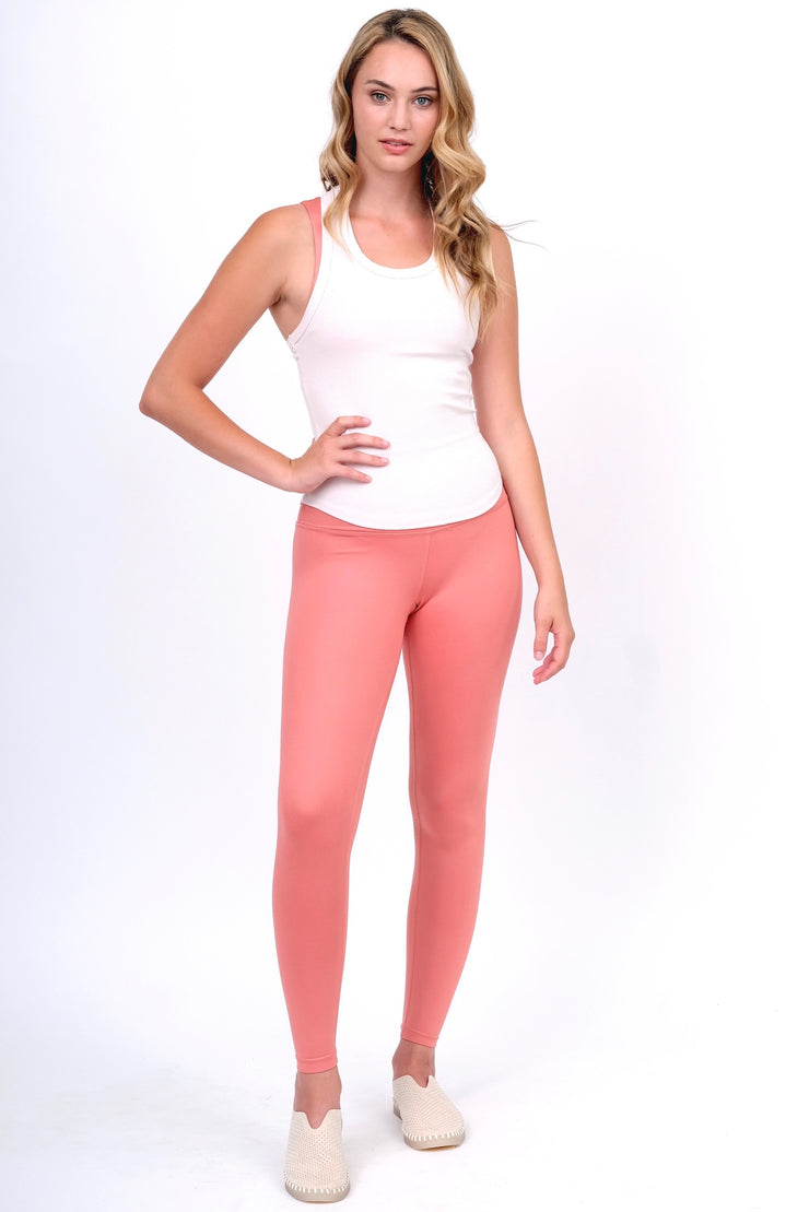 Coral Gloss Yoga Bottoms