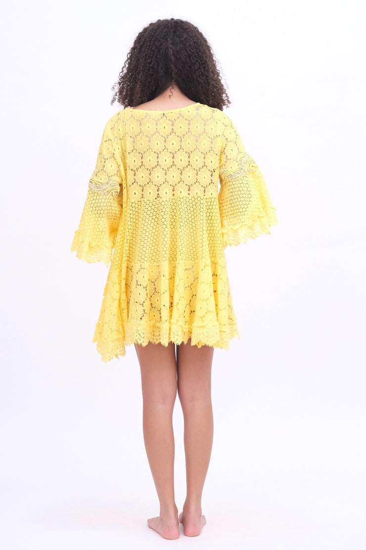 Yellow Lace Coverup Dress