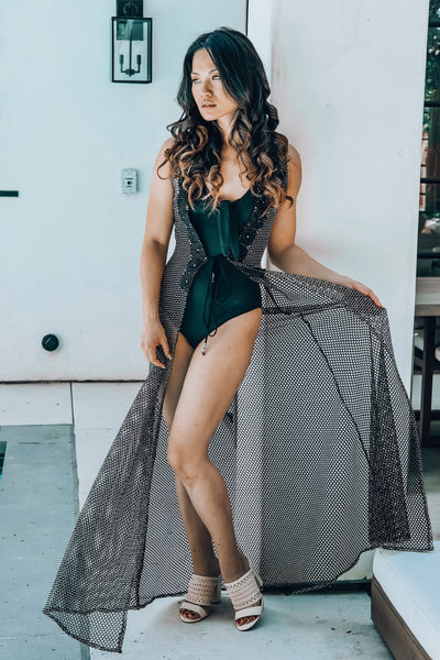 Sheer Mesh Sleeveless Robe