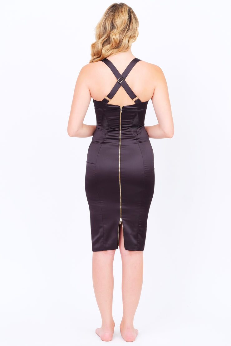 Silky Bodycon Dress in Black