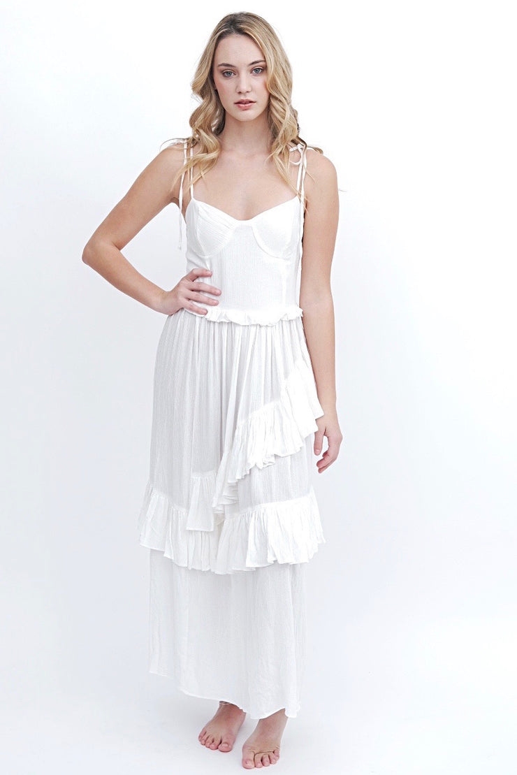 White Tiered Ruffle Dress