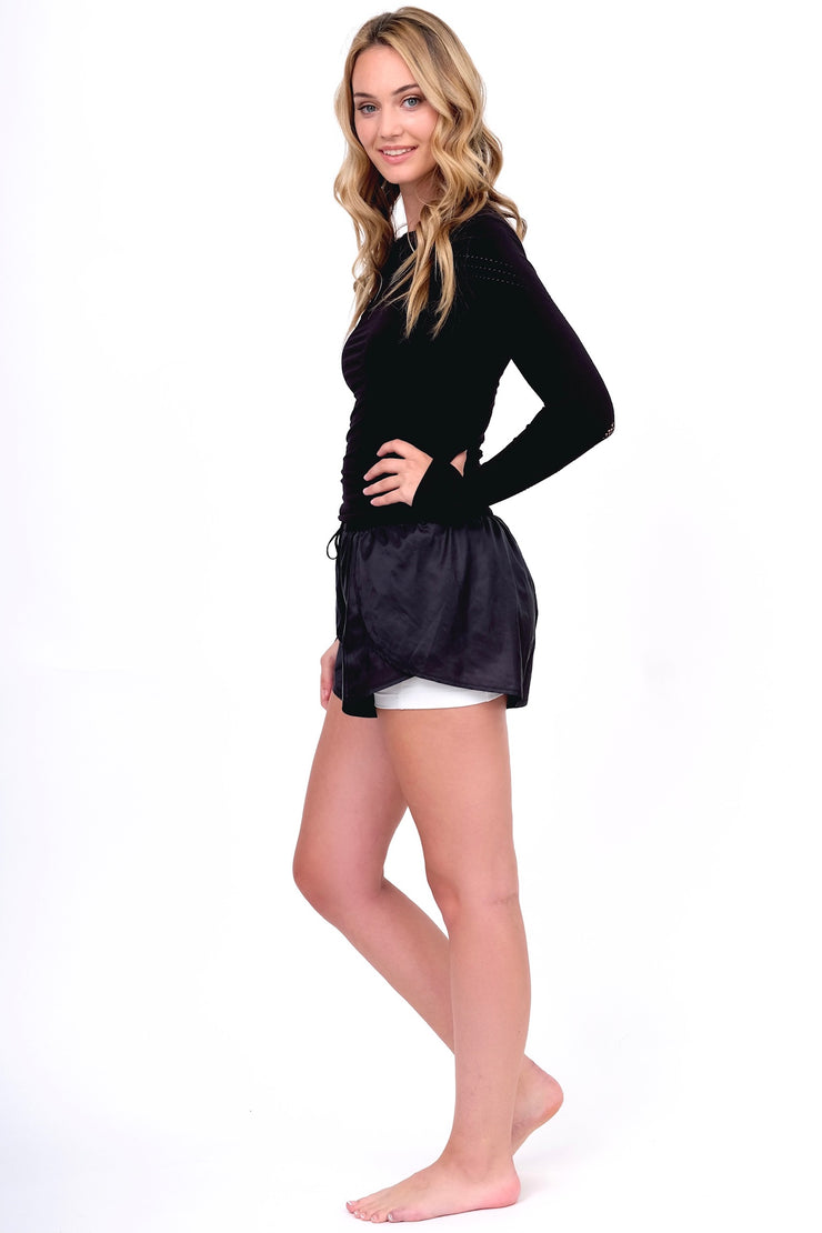 Black Two Layer Flutter Shorts