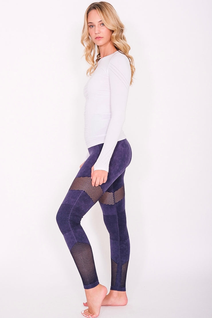 High Waist Dark Blue Active Leggings with Mesh