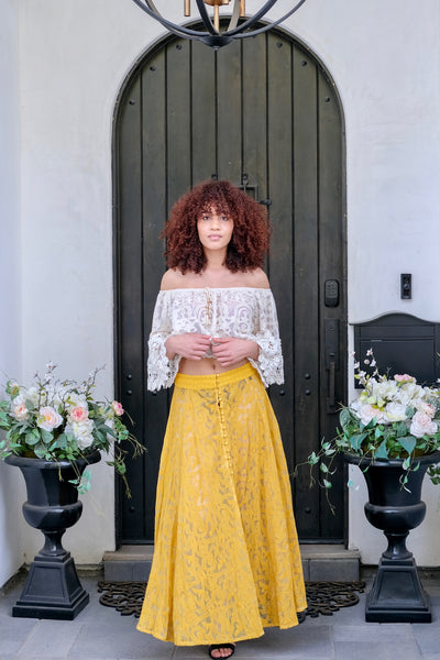 Mustard Button Up Lace Skirt