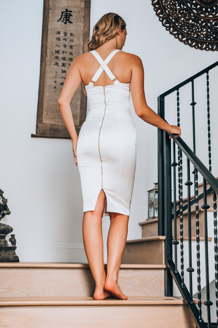 Silky Bodycon Dress in White