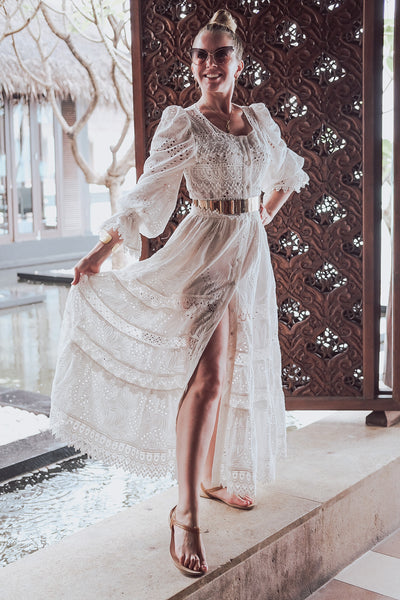 Button Up White Lace Maxi Dress