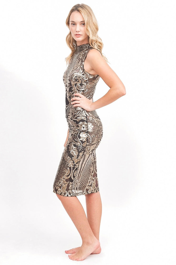Black and Gold Sheer Sequin Dress