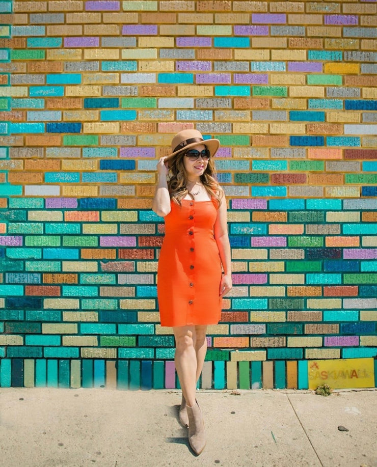 Tangerine Button Up Linen Dress
