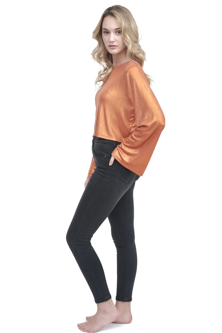 Metallic Orange Flare Sleeve Top