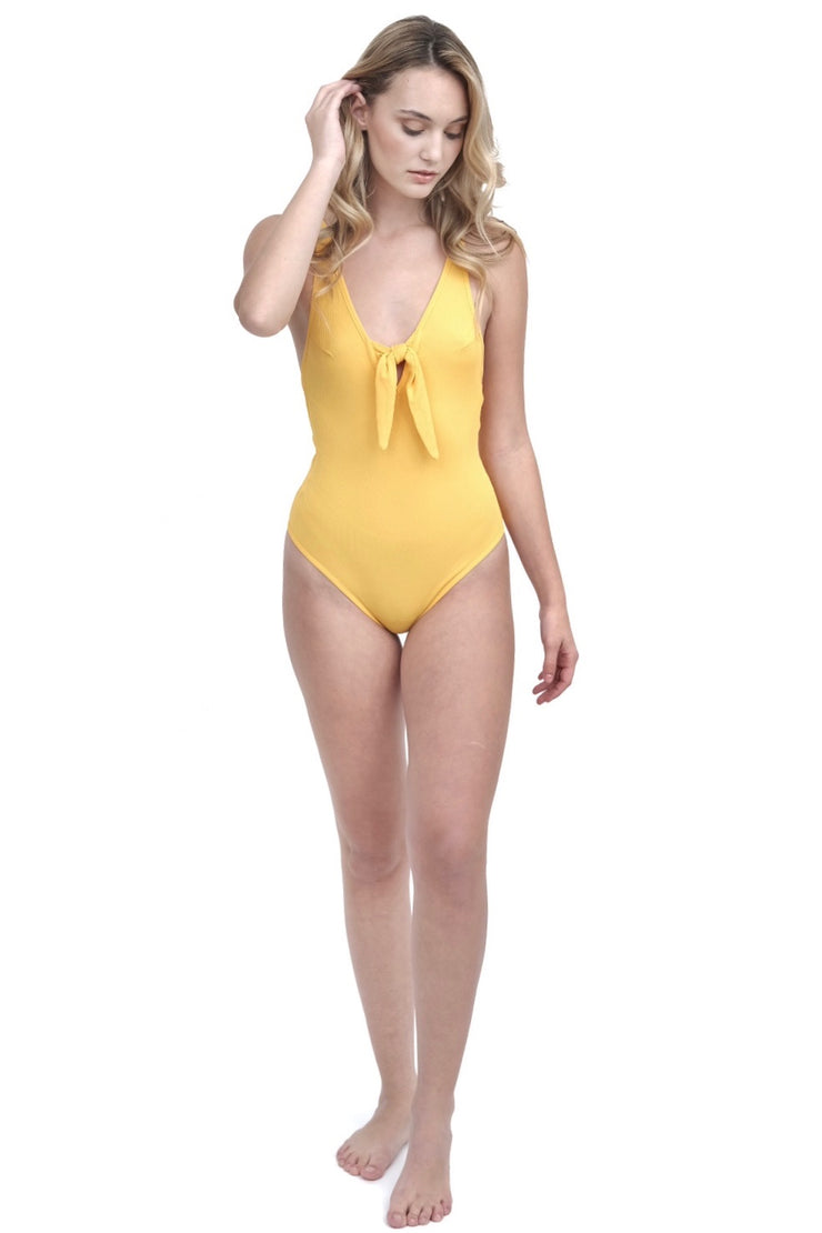 Yellow Ribbed Bodysuit with Knot