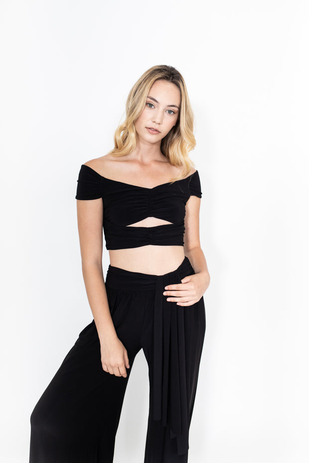 Black Keyhole Cropped Top