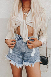 Mumu Denim Torn Shorts