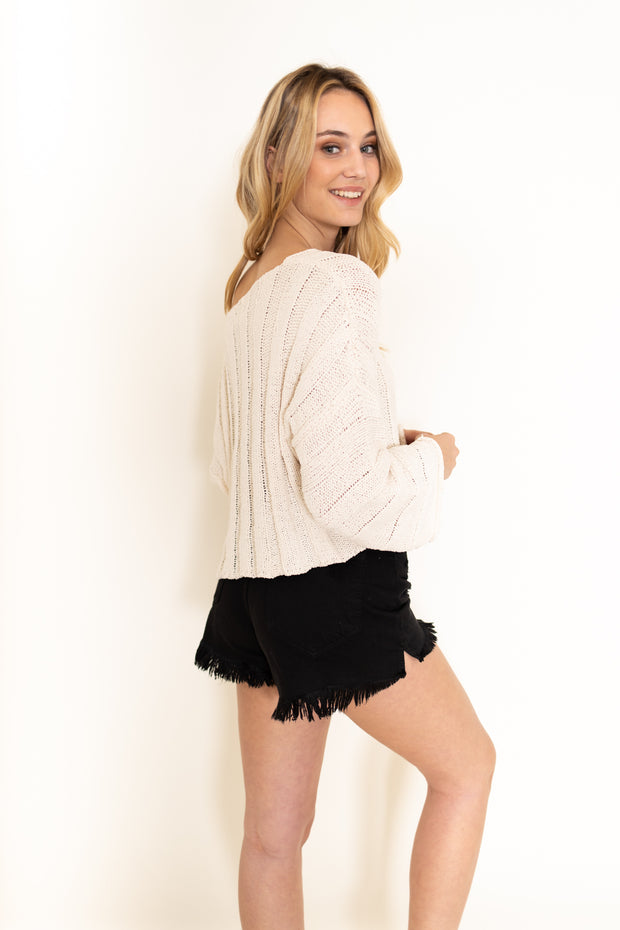 Flared Sleeve Ivory Sweater