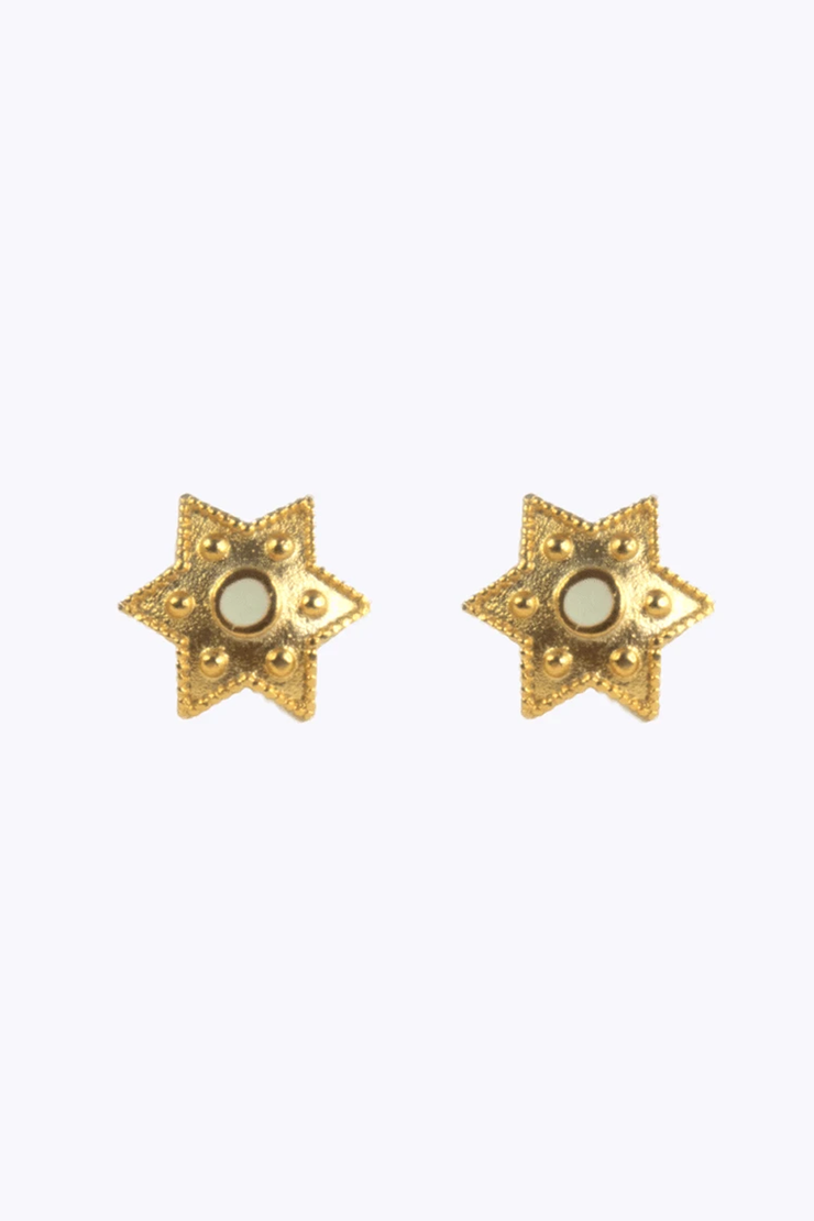Beige Star Earrings