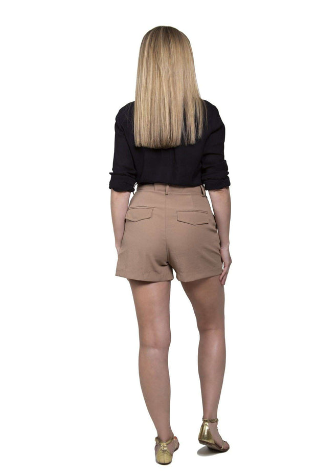 High-Waist Pleated Shorts Tan