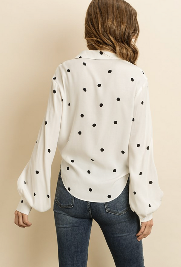 White Polka Dot Top