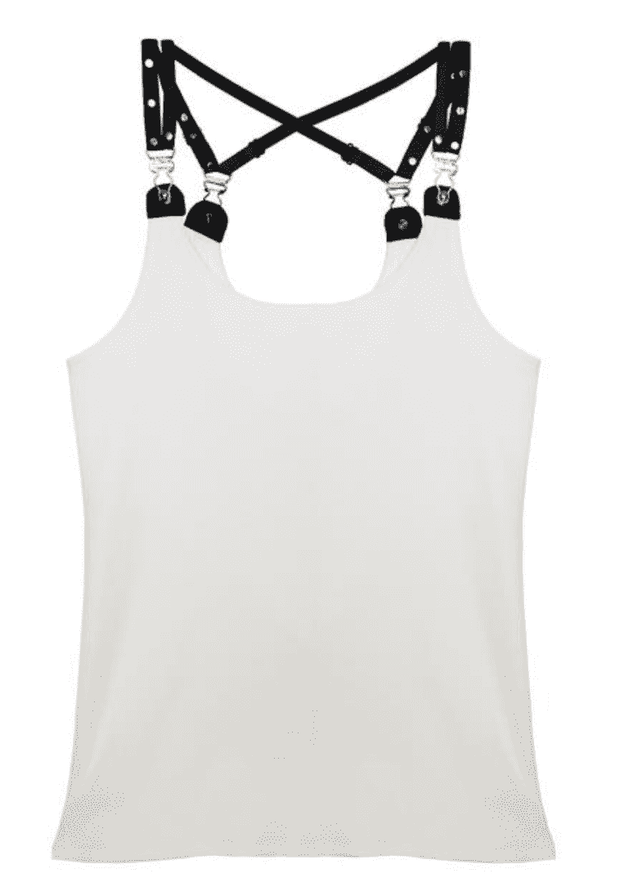 Ribbed Garter Tank White