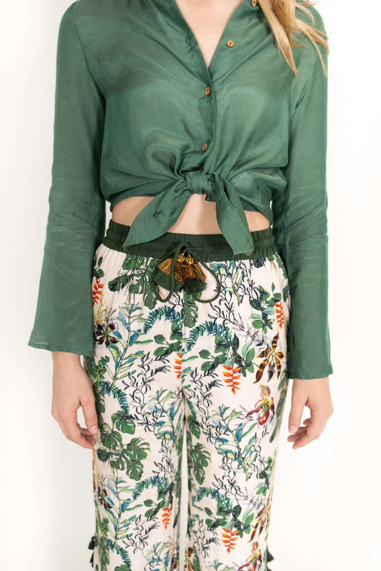 Piper Solid Silk Blouse Green
