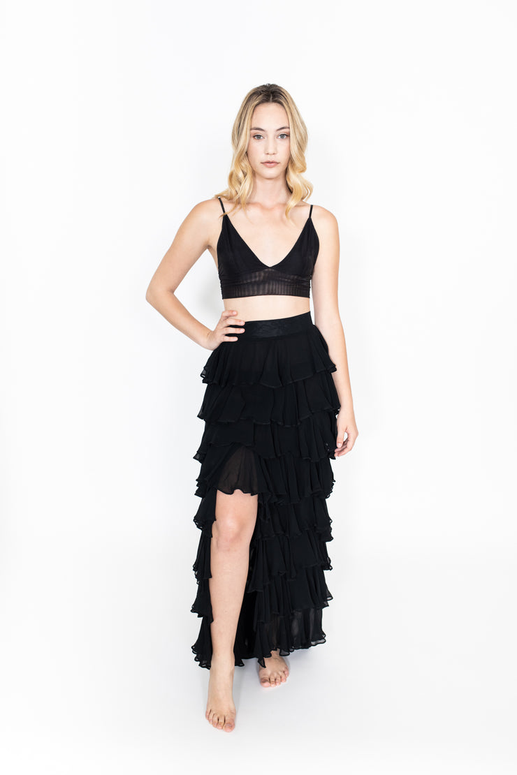 Black High Waist Tiered Ruffle Skirt