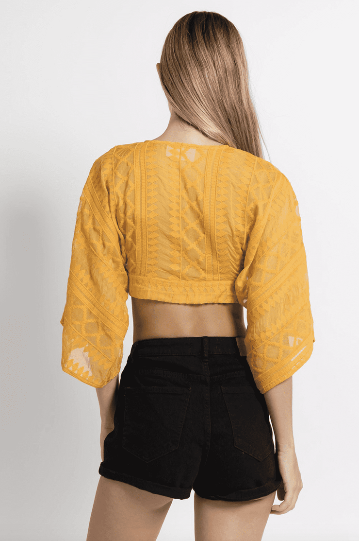Embroidered Crop Top Mustard