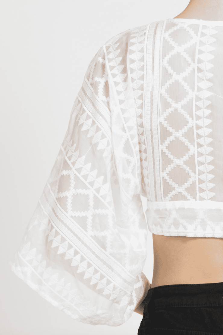 Embroidered Crop Top White