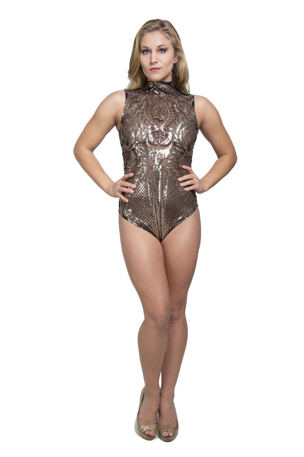 Sequin Bodysuit Gold