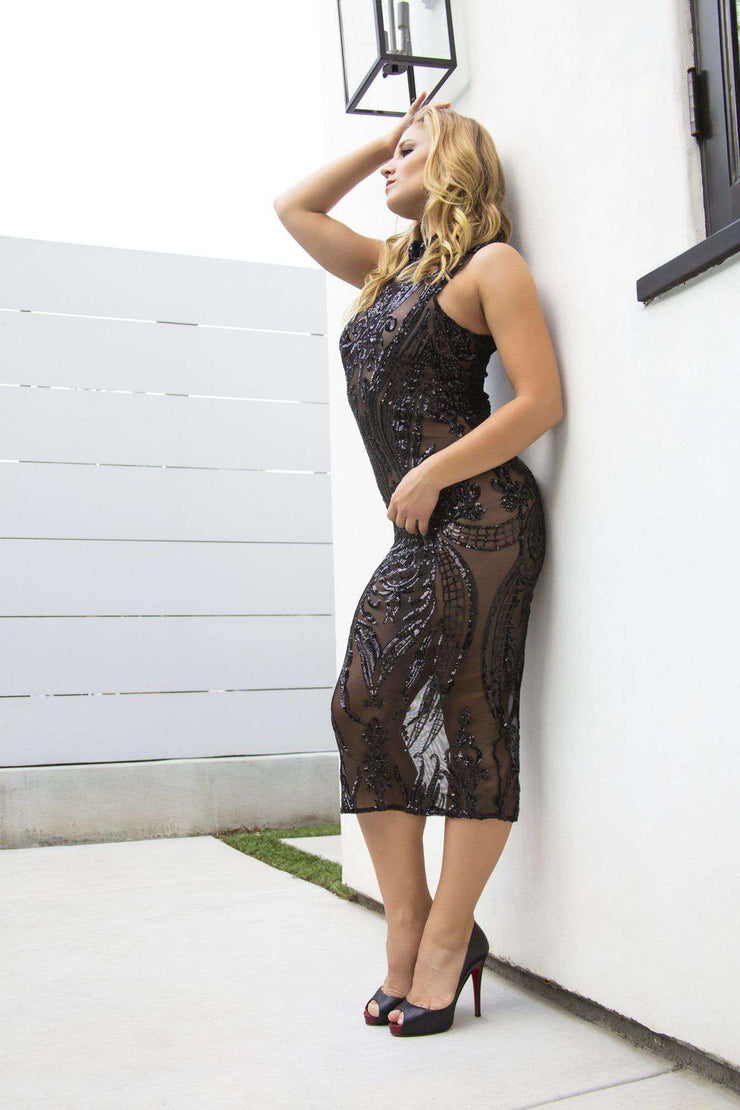 Sequin Sheer Black Dress