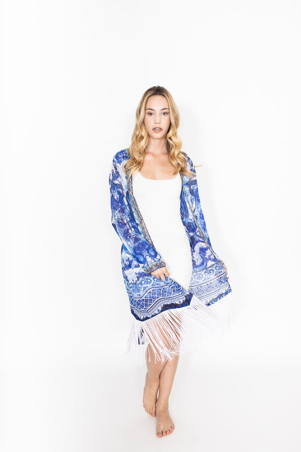 Shahida Parides Blue/White Robe Duster