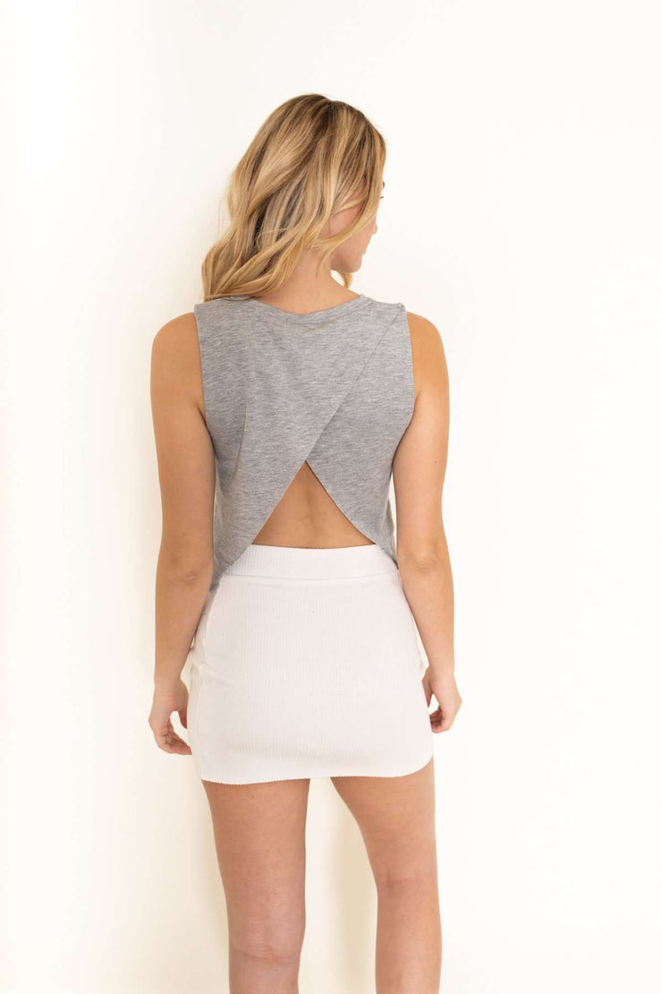 Grey Open Back Tank Top