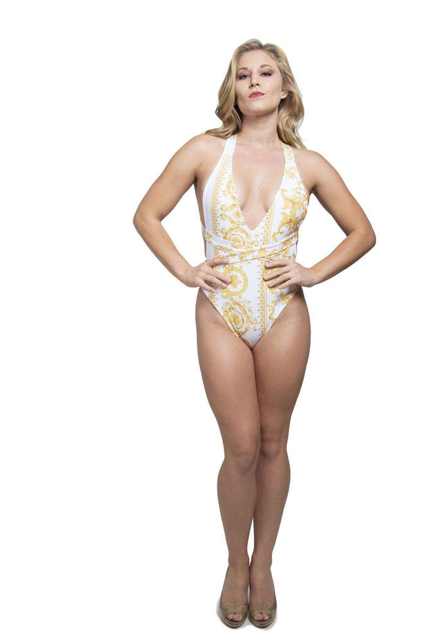 Yellow One-Piece Bathing suit