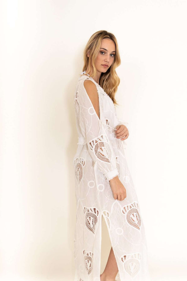 Taj Long Solid White Coverup Dress
